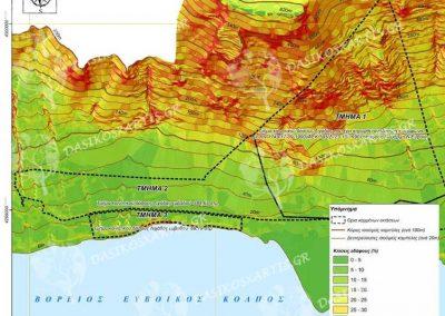 Χάρτης κλίσεων εδάφους κοινοτικου δασους Λιχάδας | Dasikosxartis.gr