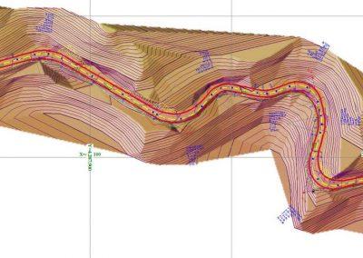 Οριζοντιογραφία Μελέτης Βελτίωσης Δασικής Οδού σε υπόβαθρο Ψηφιακού μοντέλου εδάφους | Dasikosxartis.gr